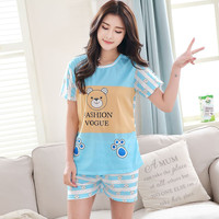 Women Sleepwear Leisure Clothes Newest 2017 Summer Short Sleeved Women Pajamas Carton Pyjamas Lovely Sleepwear Women Sets