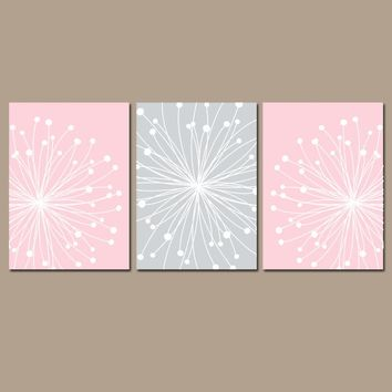 DANDELION NURSERY ART, Pink Gray Nursery Wall Art, Dandelion Canvas or Prints, Girl Bedroom Pictures, Bathroom Decor, Set of 3 Floral Decor