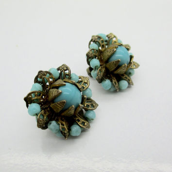 Vintage MIRIAM HASKELL EARRINGS Russian Gold Turquoise Glass Beads Button Clip Earrings Signed