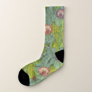 Cactus Flower Pattern All-Over-Print Socks