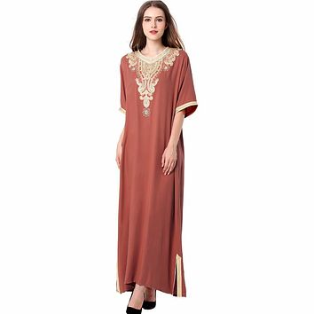 Muslim women Long sleeve Dubai Dress maxi abaya jalabiya islamic women dress clothing robe kaftan Moroccan fashion embroidey1605