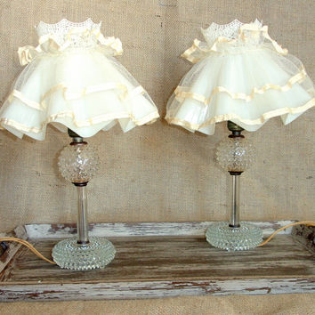 Vintage Hobnail Glass Lamps, Matching Clear Depression Glass Mid Century Knobbed Lamps with Shades, Shabby Cottage Chic