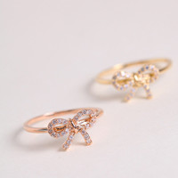 Cute bow ring  in silver / gold / pink gold diamond paved