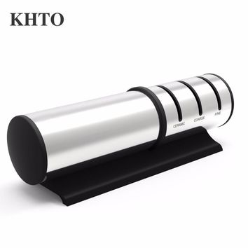 KHTO 3-Grade Stainless Steel Face Diamond Add Fine Ceramic Kitchen Ceramic/metal Knife Sharpener System
