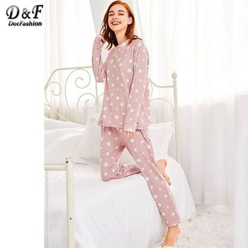 Dotfashion Stars Print Pullover and Pants Pajama Set 2018 Pink Long Sleeve Round Neck Women Clothing Pocket Casual Pajama Set