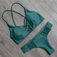 Green Bandage Swimsuit Bikini Set For Women