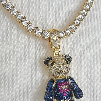 Teddy Bear Iced Out Pendant with Necklace (14K Gold Finish)