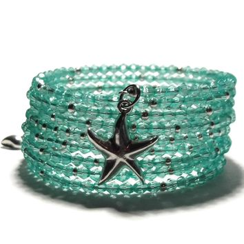 Starfish & Sea Shell Teal Acrylic Crystal Silver Artisan Crafted Wrap Bracelet, Beach Bracelet, Summer Bracelet, Ladie's Bracelet