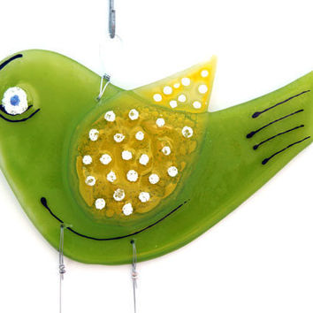 Fused Glass lemon green Bird Windchime, Suncatcher