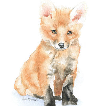 Baby Fox Watercolor Painting 11 x 14 Fine Art Giclee Reproduction