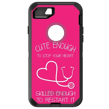 DistinctInk™ OtterBox Defender Series Case for Apple iPhone / Samsung Galaxy / Google Pixel - Hot Pink Nurse Stethoscope Heart