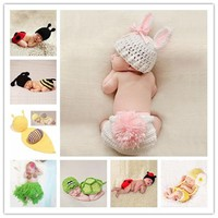 Newborn Baby Cute Crochet Knit Costume Prop Outfits Photo Photography Baby Hat Photo Props New born baby girls Cute Outfit 0-12M