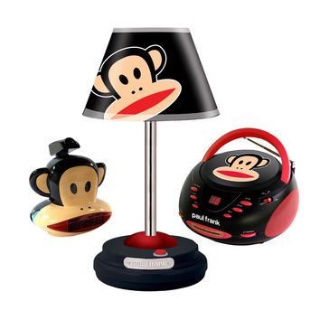 Paul Frank Table Lamp, CD Boombox and Projection Clock Radio Bundle