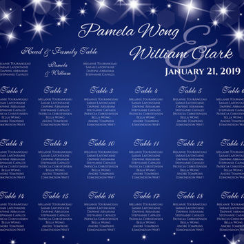 DIY Printable Wedding Seating Chart | PDF file | 18 x 24 Wedding Seating Chart - New Years Heaven Sparkles Royal Blue - EMAIL Delivery
