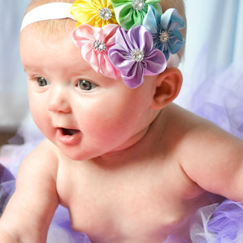 Easter Pastel Rainbow Satin Flower Headband - Newborn Baby Hairbow - Little Girls Hair Bow Photo Prop - OTT Shabby Hair Accessories
