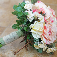 Vintage Wedding Bouquet Silk Flowers Blush Pink and Cream Roses
