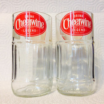 Cheerwine Soda Pop Bottle Tumbler Glasses. Recycled Glass Bottles. Novelty Glasses.