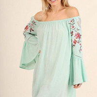 UMGEE Floral Embroidered Off Shoulder Long Sleeve Dress