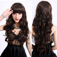 65 cm Long Synthetic Hair Women's Wigs Ladies Sexy Peruca Curly Wavy Natural Black Cosplay Wig With Bangs Female Elegant