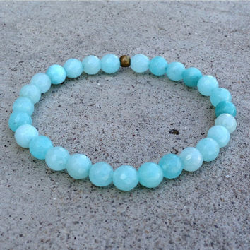 communication, Fifth chakra, genuine faceted amazonite bracelet