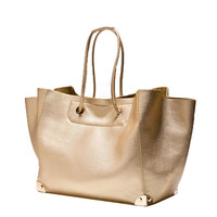 Gold String Strap Tote Handbag