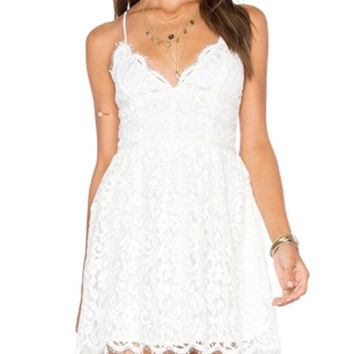 White Scallop Trim Lace Cami Mini Dress