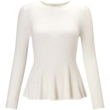 Petites Knitted Peplum Top - Tops - Apparel