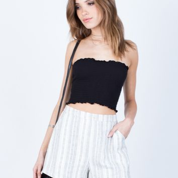 Linen Striped Shorts