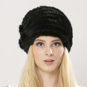 Free Shipping Women's Knitted Mink Fur Hat Hand Woven Winter Fur Cap Floral Mink Fur Hat For Lady Hat Real Fur