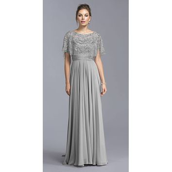 Silver Floor Length Formal Dress with Embroidered Poncho