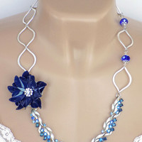 Blue Necklace, Rhinestone Necklace, Silver Links, Re-purposed Jewelry, Adjustable Necklace, Statement Necklace, Blue Flower, Vintage Jewelry