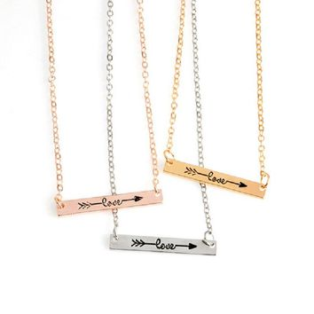 2018 Fashion Charm Female Necklace Rose Gold Silver Simple Letter Love Long strips Arrow Rectangular Necklace For Women Gift