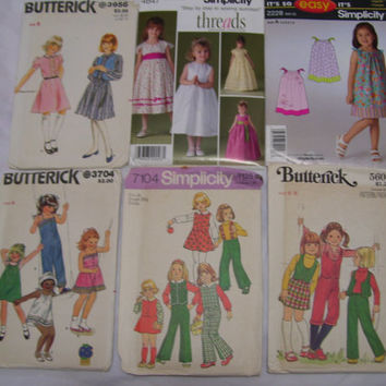 FREE US SHIPPING Children Sewing Patterns Lot Butterick 3956[Simplicity4647 [Simplicity2228 [Butterick 3704 [Butterick 5604 [Simplicity 7104