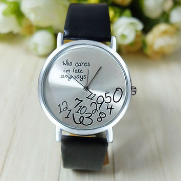 Newly Design Hot Women Leather Watches I am Late Anyway Letters Print Quartz Watch Men Dress Hour Clock Relogio Feminino Montre