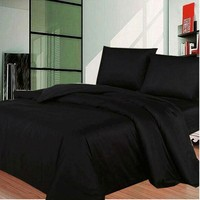 Black Solid Bedding Sets Cotton Duvet/Quilt Cover Sets Sheet Pillowcases USA Twin/Full/Queen/King Size