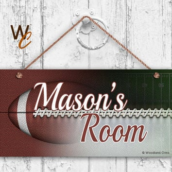 "Football Sign, Abstract Sports Room Sign, Personalized Sign, Kid's Name, Kids Door Sign, Baby Nursery Art, 5"" x 10"" Sign, Made To Order"