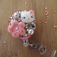Sale Nurse Work ID badge holders-Purse clips Keychains- Hello Kitty faux Pearls & Swarovski Crystals Bling Reel