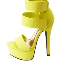 Anne Michelle Three-Strap Mega-Platform Lime Heels