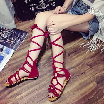 2016 new summer girls cross strap sandals  high gladiator sandals  tall sandals for women boot sandals shoes 3 colors CRUSHOE18