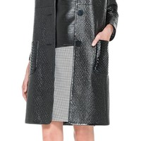 Coated Basketweave Topper Coat by Leon Max | Max Studio Official