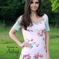 Pink Floral Print Short Sleeve Top with Criss Cross Neckline and Heather Gray Trim and Sleeves