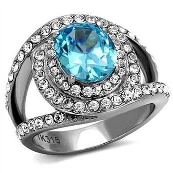 WildKlass Stainless Steel Ring High Polished (no Plating) Women Synthetic Sea Blue