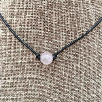 Rose Quartz Stone Single Bead Choker Leather Necklace