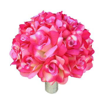 Wedding Bridal Bouquet - Shades of pink and ivory open roses. Artificial flower rose bouquet