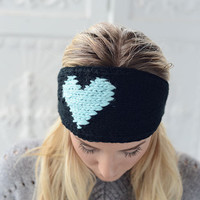 LOVE Knitted Heart Headband Black & Aqua Ear Warmer by Three Bird Nest and NEW Colors too