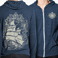Pirate Ship Hoodie, Tall Ship, Alternative Jersey Zip Hoodie, Anchor, Compass
