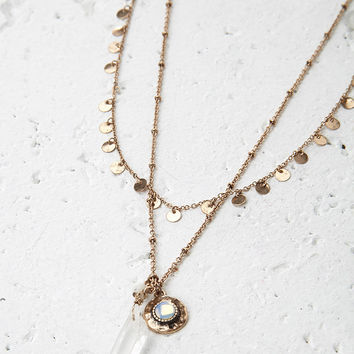 Layered Charm and Faux Crystal Necklace