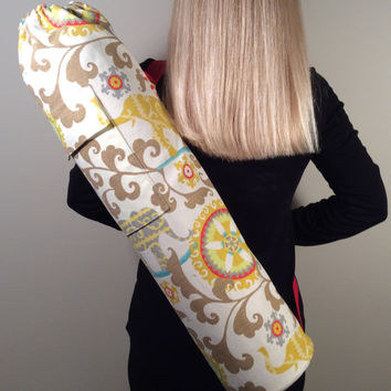 HandmadeYoga Mat Bag, Pilates Mat Bag, Yoga Mat Carrier with two pockets - Beautiful Elephant Print with Red Canvas Accents and Lining
