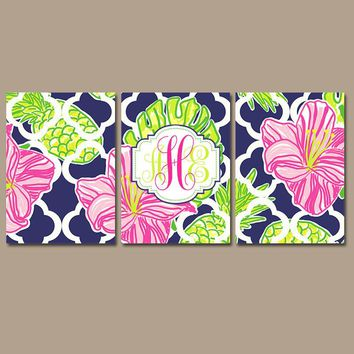 MONOGRAM Wall Art, Hibiscus Pineapples, Floral Decor, Navy Pink Lime, Lilly Baby Girl Nursery, CANVAS or Print Set of 3 Decor Wall Decor