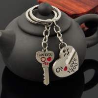 Couple Connected Heart Key Key-chain  Gift Free